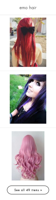 """emo hair"" by shaya-bvb-4-life ❤ liked on Polyvore featuring beauty products, haircare, hair color, hair, hairstyles, hair styles, beauty, girls, filler and people"
