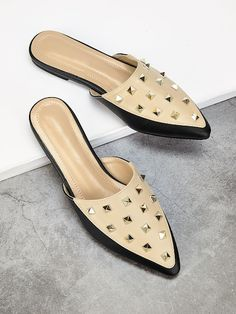 To find out about the Studded Point Toe Flat Mules at SHEIN, part of our latest Flats ready to shop online today! Mules Shoes, Shoes Heels, Sandals, Mule Plate, Clarks, Flat Mules, Studded Heels, All About Shoes, Pointed Toe Flats