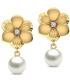 Caratlane Brushed Floral 18 Kt Certified, Real Diamond & Gemstone & Hallmarked Gold Earring