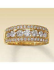 Diamond Ring Women's 14K Yellow Gold 1/2 Carat