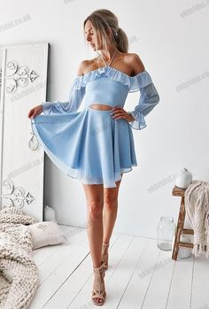 homecoming dresses Blue Halter Chiffon Homecoming Dresses, Backless Long Sleeve Homecoming Dresses, This dress could be custom made, there are no extra cost to do custom size Long Sleeve Homecoming Dresses, Hoco Dresses, Cute Dresses, Boho Homecoming Dress, Long Sleeve Short Dress, Prom Gowns, Evening Gowns, Casual Dresses, Boho Dress