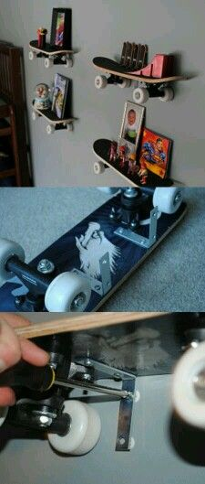 estanterías this would be cool for a man room at your place or one day when you have a boy! this would be cool for a man room at your place or one day when you have a boy! Skateboard Shelves, Skateboard Room, Skateboard Decks, Ideas Para Organizar, Man Room, My New Room, Diy Design, Kids Room, Bedroom Decor
