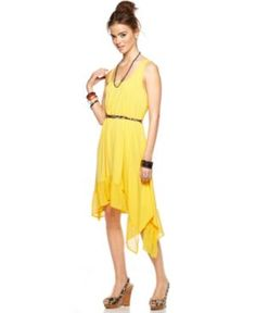 yellow dress :) Material Girl Dress, Sleeveless Belted Ruffled Asymmetrical