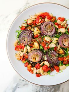 Roasted veggie, bean and herb salad