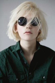 Bleach blonde bob