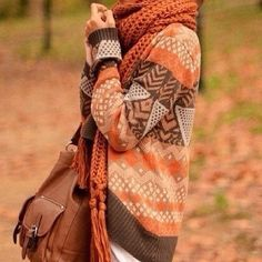 Tribal sweater and chunky scarf...the color? The pattern? Omg I love it all!