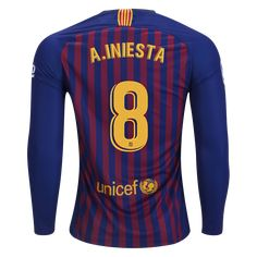 65a083af5640f6 Nike Andres Iniesta FC Barcelona Long Sleeve Home Jersey 18 19