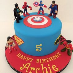 One tier Marvel Superhero cake - Visit now to grab yourself a super hero shirt today at 40% off!