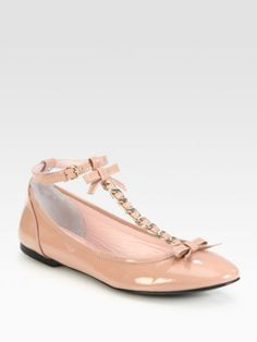 $325 RED VALENTINO Pink Patent Leather Bow Tstrap Ballet Flats 37.5 US 7.5