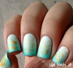 Polish My Life Stripped and B Squared Lacquer Plur matte gradient with gold splatter