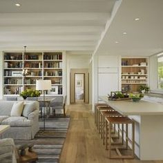 Open Plan Living Room With Dividing Bookcase Design Ideas, Pictures, Remodel, and Decor - page 2