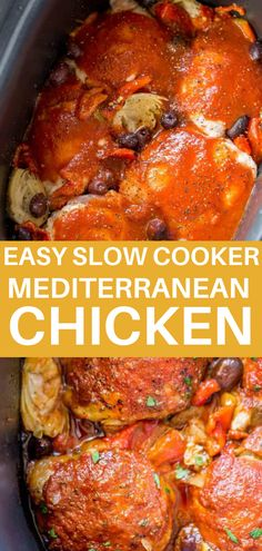 Easy Slow Cooker Mediterranean Chicken with artichoke hearts, olives and roasted red peppers in a briny, herby tomato sauce is tender and flavorful with just five minutes of prep work! This recipe is perfect for those busy nights when you don't feel like cooking but you still want to have something tasty and healthy! #healthydinner #slowcooker #chicken #chickenrecipes Slow Cooker Recipes, Crockpot Recipes, Cooking Recipes, Healthy Recipes, Mediterranean Chicken, Mediterranean Recipes, Artichoke Hearts, Yummy Chicken Recipes, Easy Food To Make