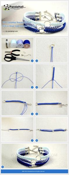 DIY Friendship Bracelet Tutorial - How to Braid Triple Paracord Bracelets from pandahall.com