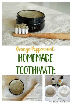 This Orange Peppermint Homemade Toothpaste is easy to make using natural ingredients like bentonite clay, coconut oil and essential oils. | natural products #DIY #toothpaste