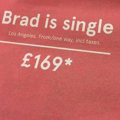 Brad is single: un buon motivo (virale) per volare con @Fly_Norwegian a Los Angeles