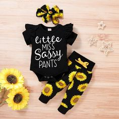 Newborn Girl Outfits, Kids Outfits, Cute Baby Girl, Cute Babies, Baby Letters, Baby Girl Shirts, Sunflower Print, Sunflower Room, Sassy Pants