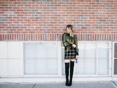 Metallic shirt // wool and metallic skirt // winter weather ideas // cold weather outfits // outfit inspiration // over the knee boots // Blogger Lindsey Lutz from Life Lutzurious wearing a metallic shirt and wool skirt by Rachel Zoe with Stuart Weitzman over the knee boots