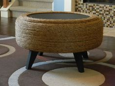 Recycled Tire Rope Ottoman