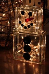Snowman from glass blocks. (Glass blocks can be purchased at Hobby Lobby) Snowman Crafts, Christmas Projects, Holiday Crafts, Holiday Fun, Thanksgiving Holiday, Holiday Ideas, Noel Christmas, Winter Christmas, All Things Christmas