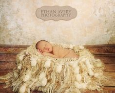 Fluffy Photography Props Fringe Blanket AND Baby Prop Hammock: Champagne, Pearl 'Granola'
