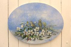 Snow scene - Winter Starry night moon - Christmas rose  mistletoe - birds baby sparrow - Original oil Painting by  Helen Flont