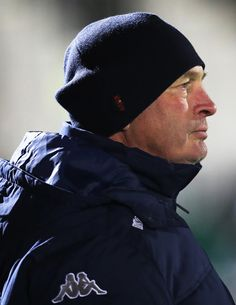 Montpellier Head Coach Vern Cotter is seen during the European Rugby Champions Cup match between Glasgow Warriors and Montpellier at Scotstoun Stadium on December 2017 in Glasgow, Scotland. Glasgow Scotland, Montpellier, Rugby, Warriors, Champion, December, Winter Hats, Photos, Pictures