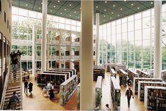 Interior of public library  Malmo, Skane Sweden