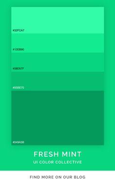 Mint Color Palettes, Flat Color Palette, Website Color Palette, Green Color Schemes, Green Colour Palette, Verde Agua Color, Playroom Color Scheme, Flat Design Colors, Ui Color