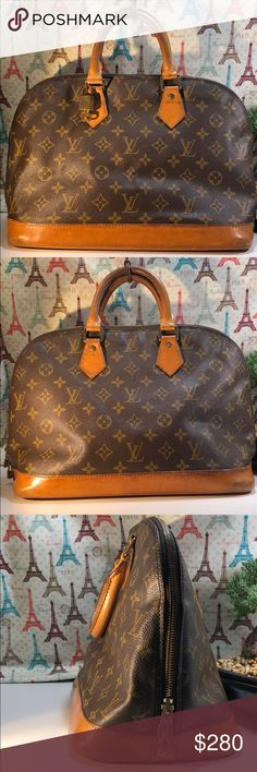 Authentic Louis Vuitton Monogram Alma PM Satchel Leather showed wearing and had some stains. Canvas and inside linen is good condition. Showed wearing 1 on the corner. Key and lock included. The bag was made in France with date code VI 1913. The dimension 13, 9 and 6 Louis Vuitton Bags Satchels