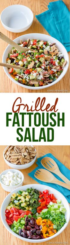 Healthy Grilled Fattoush Salad   ASpicyPerspective.com