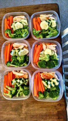 Six days' worth of snack packs for husband: steamed carrots, steamed broccoli, cucumbers, and baked chicken (E)