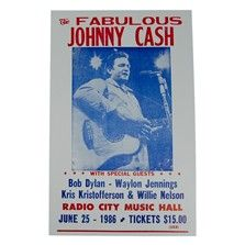 This poster advertises a show performed by Johnny Cash at the famous Radio City Music Hall, in New York's Rockefeller Center. $7.00
