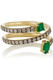 Jemma Wynne - gold, diamond and emerald phalanx ring Jewelry Rings, Jewelery, Fine Jewelry, Jewelry Making, Gold Gold, Expensive Jewelry, Right Hand Rings, Vintage Jewelry, Gemstone Rings
