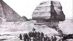 Samurai photographed in front of the Sphinx, Egypt, 1864.