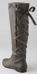 Tie Back Tall Flat Boots