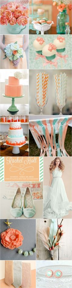 Mint & Peach Wedding  Still like turquoise and coral better but these muted hues are a nice complementary color or compromise