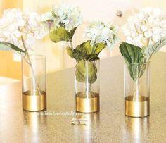 Glass Cylinder Vases, Gold Dipped Vase,Gold Wedding Vases,Baptism Centerpieces, Bridal Shower Decor,Glass Candle Holder, Gold Vases,