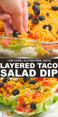 This low carb layered taco salad dip with ground beef is made with refried soy beans. Perfect served as a salad topping or for dipping keto tortilla chips. Beef Recipes, Mexican Food Recipes, Low Carb Recipes, Cooking Recipes, Healthy Recipes, Easy Low Carb Meals, Ground Beef Keto Recipes, Taco Salad Recipes, Lettuce Wrap Recipes
