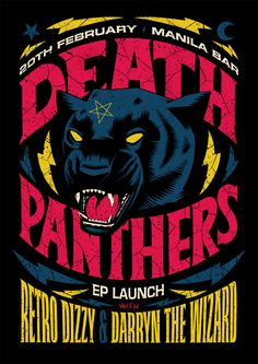 A poster for Death Panthers' EP launch by Ian Jepson