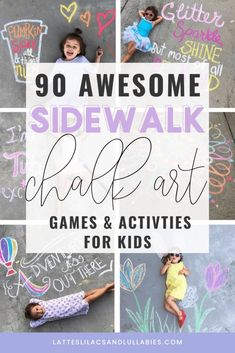 Today I'm going to share with you some amazing sidewalk chalk learning activities, games, artwork, and photo ideas to enjoy with your kids.