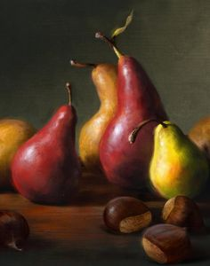 Pears With Chestnuts Painting  - Fine Art Print