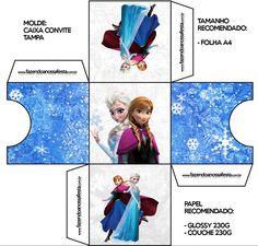 Convite Caixa Fundo Frozen Azul e Branco: