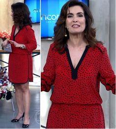 Vestido poá diferente de Fátima Bernardes