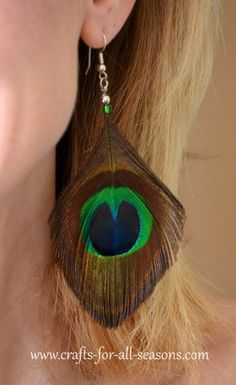 This site has great craft ideas for kids and grown-ups for all seasons.  Peacock feather earrings