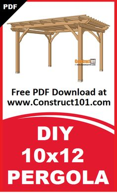 10x12 pergola plans. Build it yourself projects, free PDF download. Includes shopping list, cutting list, drawings, and measurements.