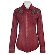 Roar® Ladies Simone Red Embroidered Long Sleeve Western Shirt