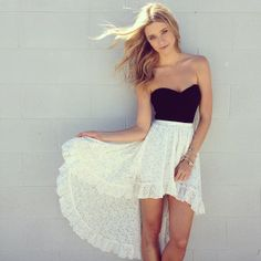 white lace high low skirt