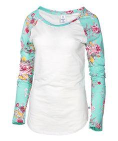 Look what I found on #zulily! White & Mint Floral-Sleeve Raglan Tee #zulilyfinds