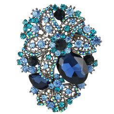 EVER FAITH® Orchid Teardrop Blue Austrian Crystal Brooch Pendant Black-Tone N01532-2 ** Want to know more, click on the image. #BroochesandPins