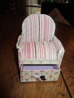 Cartonnage Lounge Chair Pin Cushion and storage drawer Tutorial